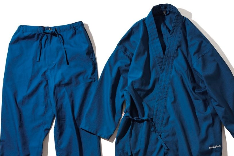 Japanese style garment using Mont-bell's flame-retardant material for bonfire use.