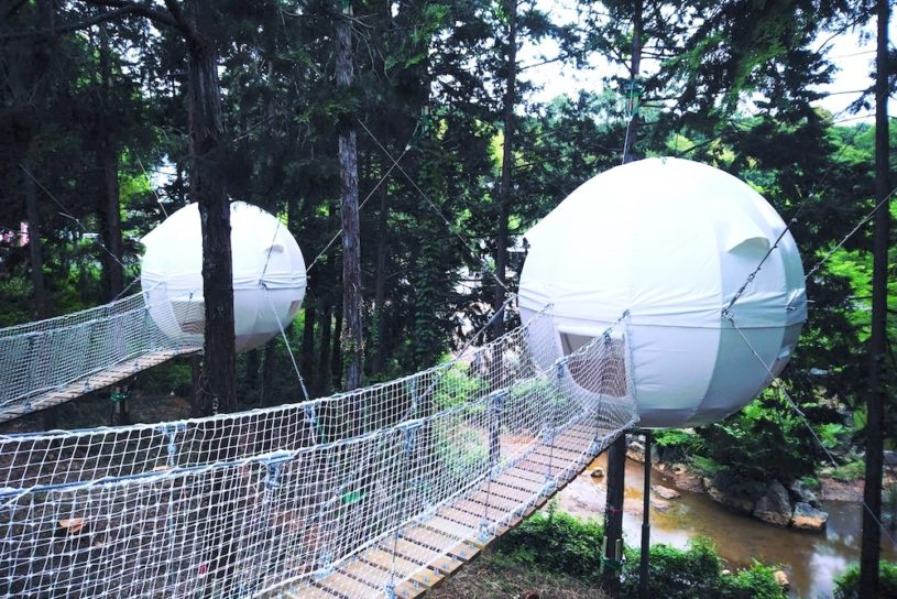 "Welcome to the amusement spa ""Opark Ogose"" where you can experience luxury camping (Campsite file #26 Camp site baths)."