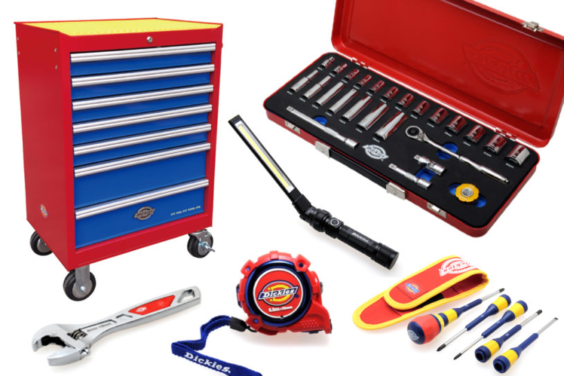 Dickies full-scale tool series has arrived! The pop color that makes D.I.Y. more fun!