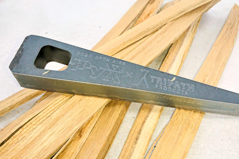 You don't need an ax or hatchet anymore!? Chopping wood is easier with Tripas Products' wedge!