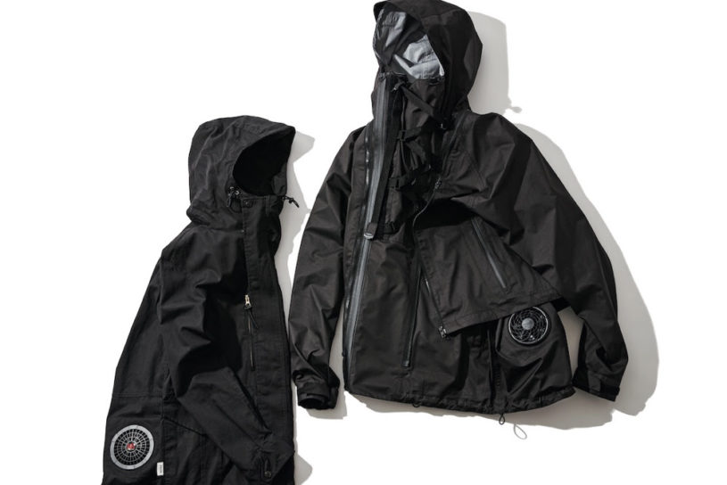 A summer-savvy outdoor jacket equipped with an on-site prepared air conditioning system.