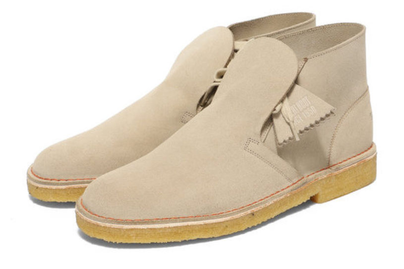 Clarks desert boots turned inside out! Beams bespoke model with a stylish sense of incongruity.