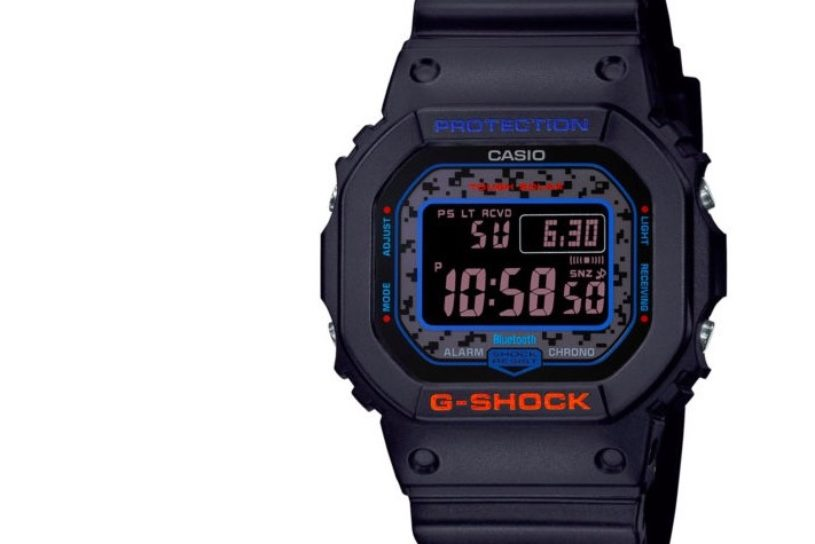 """G-SHOCK's new series """"City Camouflage"""" with camouflage and neon colors."""