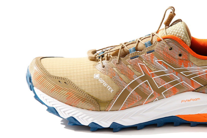 ASICS x F / CE. Popular trail running shoes are jazzed up with Gore-Tex and innovative colors!