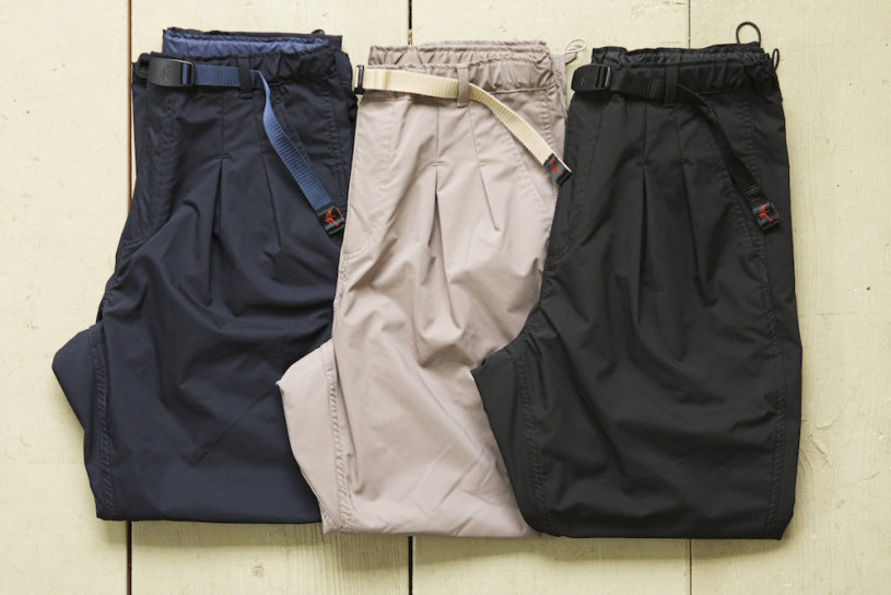 Mature Gramicci pants curated by Nonnative. Their popular functional pants with a beautiful silhouette are on sale this season as well.