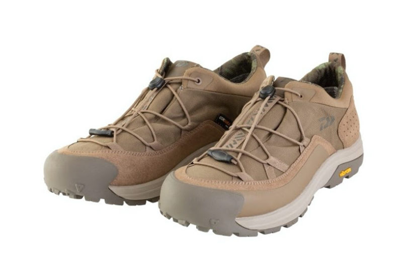 Daiwa's new rugged military style shoes with a unique waterproof function.