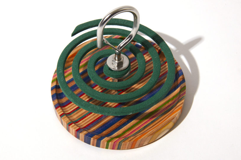 The new mosquito coil holder designed by Peregrine is like a piece of art. Innovative collaboration work born from a skateboard deck.