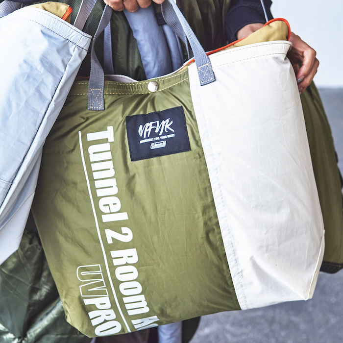 """A bag remade from the remains of discarded tents. Coleman's new sustainable project called """"MFYR"""" is here."""
