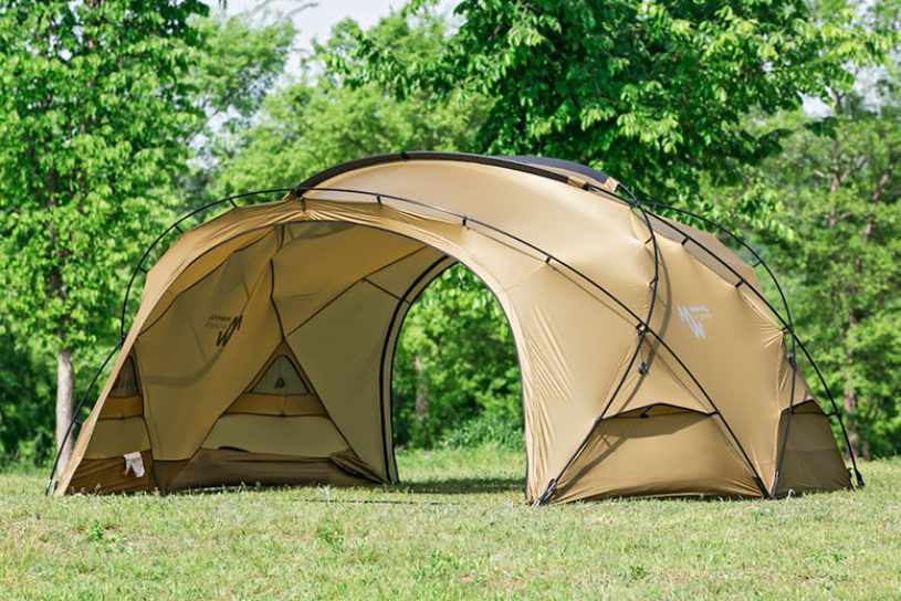 Minimal Works' new dome shelter can be used more easily thanks to a novel panel system.