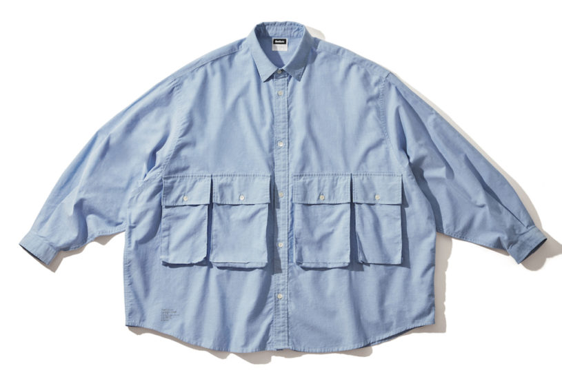 4 pockets and an ultra-wide silhouette. An innovative and functional Oxford shirt from Fresh Service.